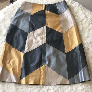 Metrostyle multi gold leather skirt